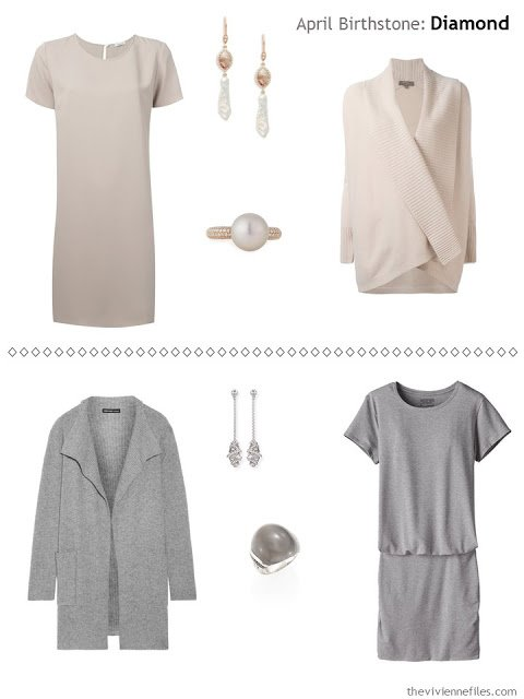 diamond accented jewelry worn with beige, and with grey