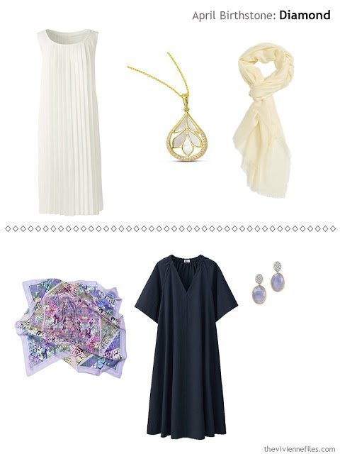 diamond accented jewelry worn with an ivory dress, and with a navy dress