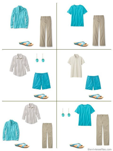 how to wear turquoise, or teal, or azure, with khaki and beige