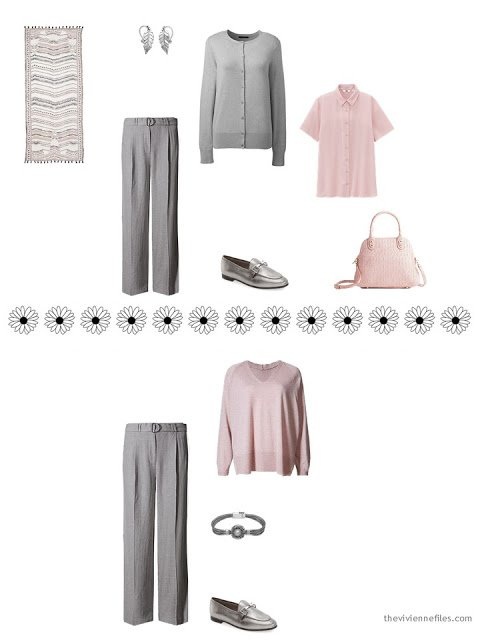 2 ways to wear grey pants from a travel capsule wardrobe for warm weather