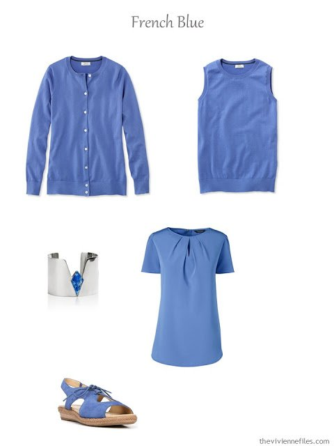 Five Piece French wardrobe in French Blue for spring and summer