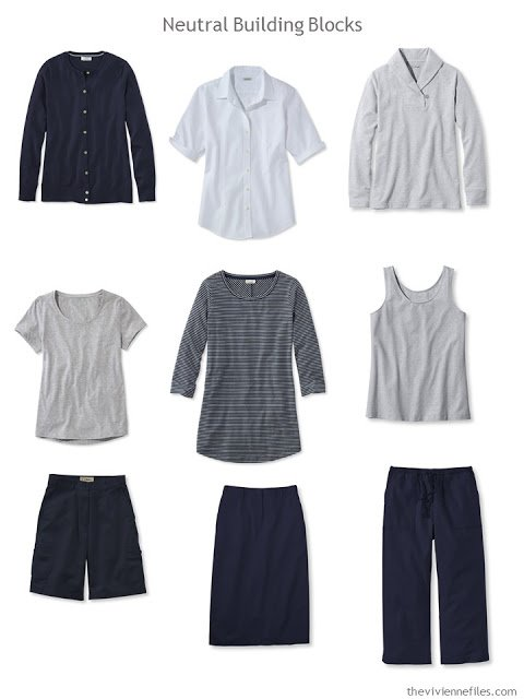 nine wardrobe Neutral Building Blocks in navy and grey