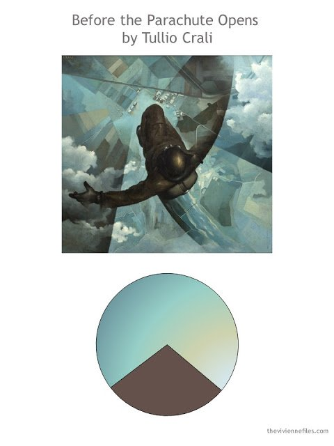 Before the Parachute Opens by Tullio Crali with color palette
