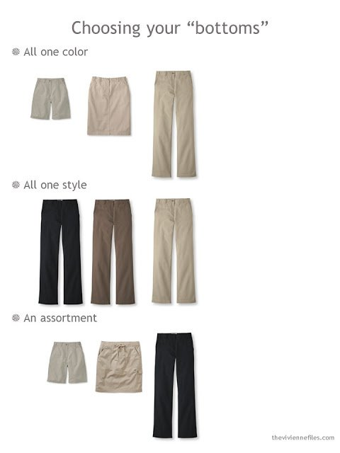 different ways to choose 3 bottoms to build your 9 Neutral Wardrobe Building Blocks