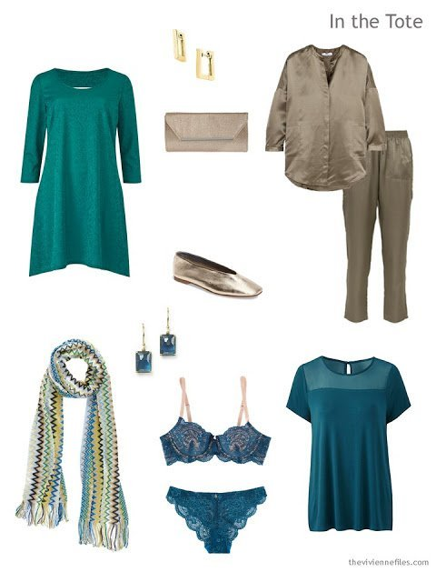 an overnight Travel Capsule Wardrobe in olive and teal