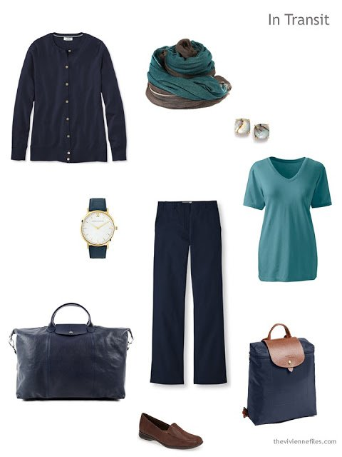 a brown and teal travel outfit
