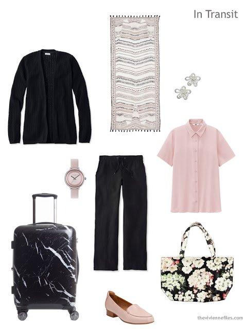 travel outfit for warm weather in black and pink
