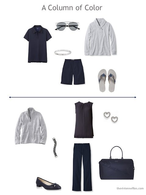two capsule wardrobe outfits in navy and grey