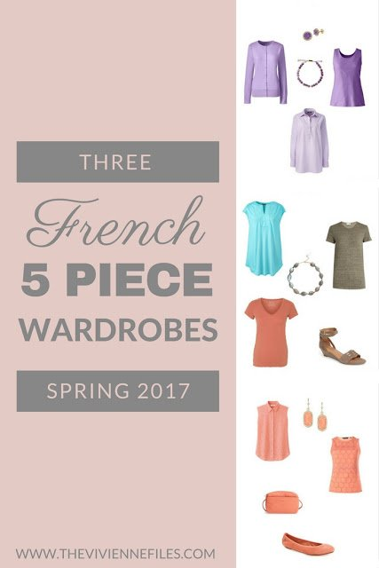 3 Final French 5-Piece Wardrobes for Spring in Lavender, Coral, and Labradorite color palettes