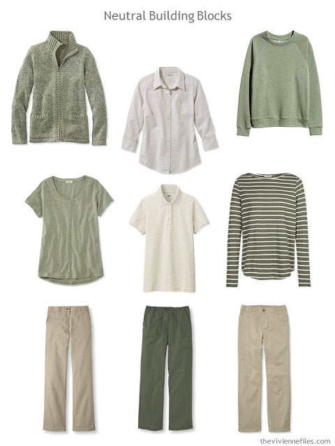nine wardrobe Neutral Building Blocks in olive and beige or khaki