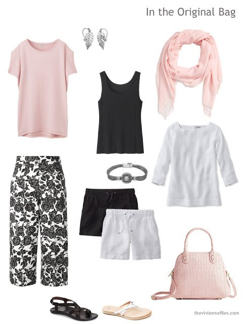a casual Six-Pack travel wardrobe in black, white and pink