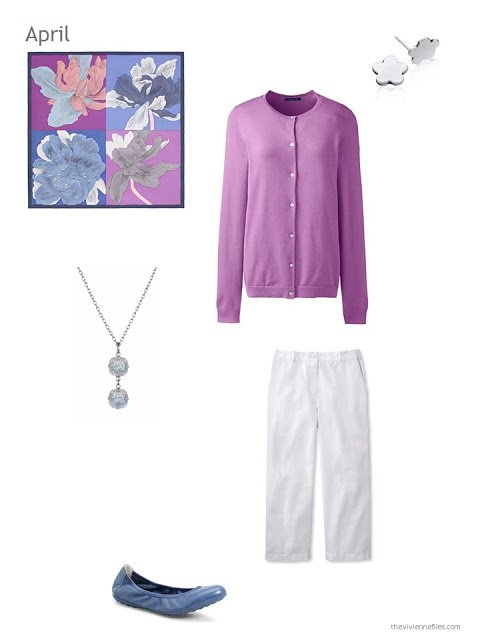 an orchid and white outfit for spring