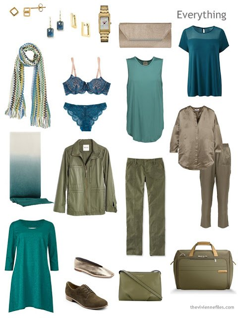a travel capsule wardrobe in olive and teal