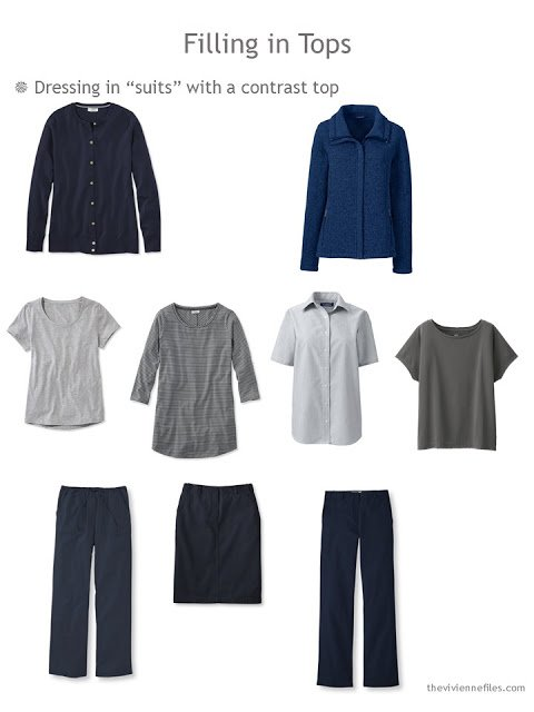 dressing in suit-like ensembles with a constrast top in Neutral Building Blocks of navy and grey