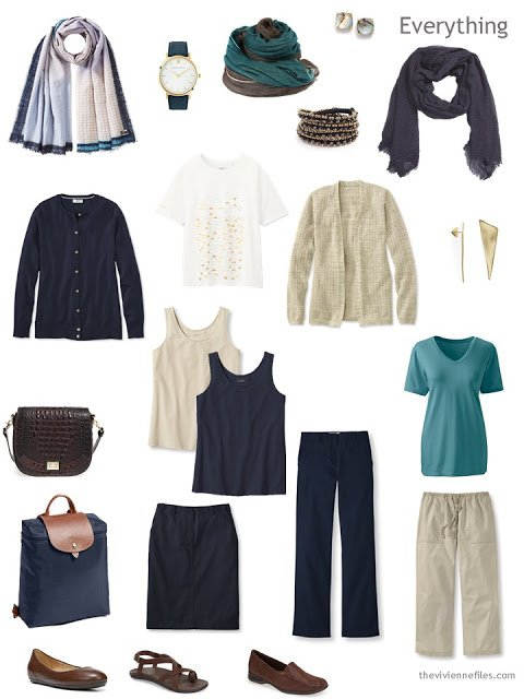 a warm-weather travel capsule wardrobe in navy and beige with accents of cream and teal, and brown leather accessories