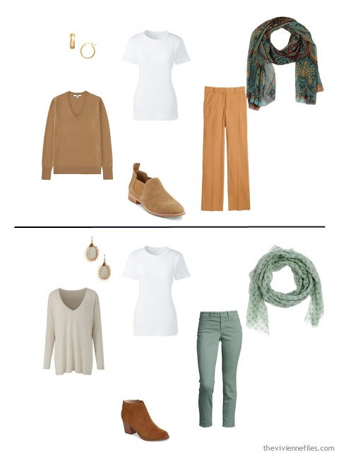two outfits including a classic white tee shirt