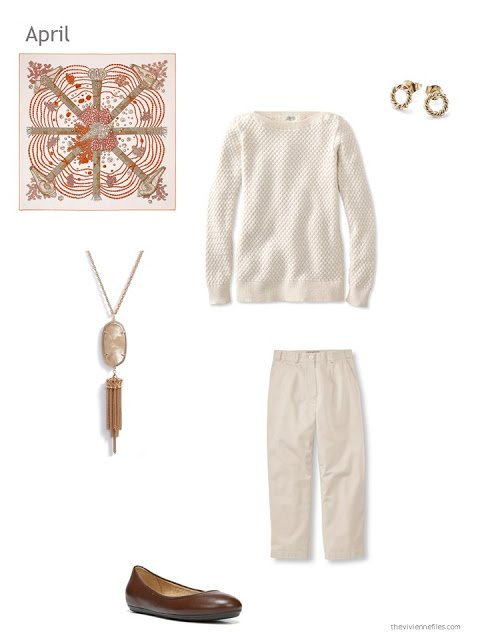 an ivory and beige outfit for spring