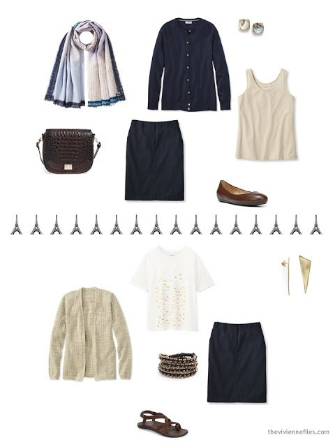 two ways to wear a navy skirt in warm weather, from a travel capsule wardrobe