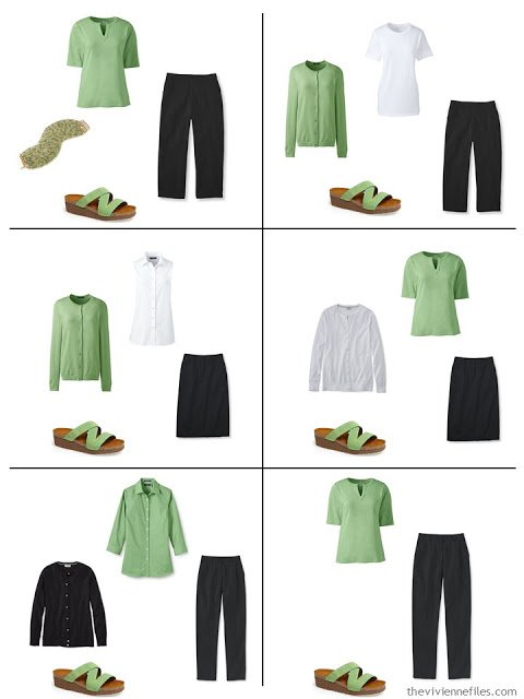 six ways to wear greenery with black and white for spring and summer