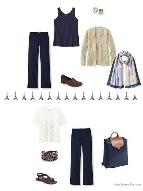two ways to wear navy trousers, from a travel capsule wardrobe