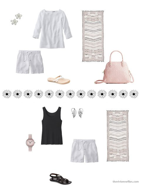 two warm-weather outfits including white linen shorts