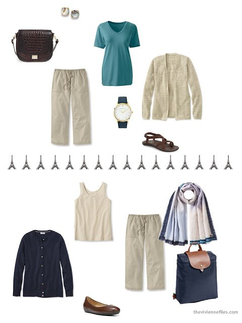 two ways to wear beige linen cropped pants from a travel capsule wardrobe