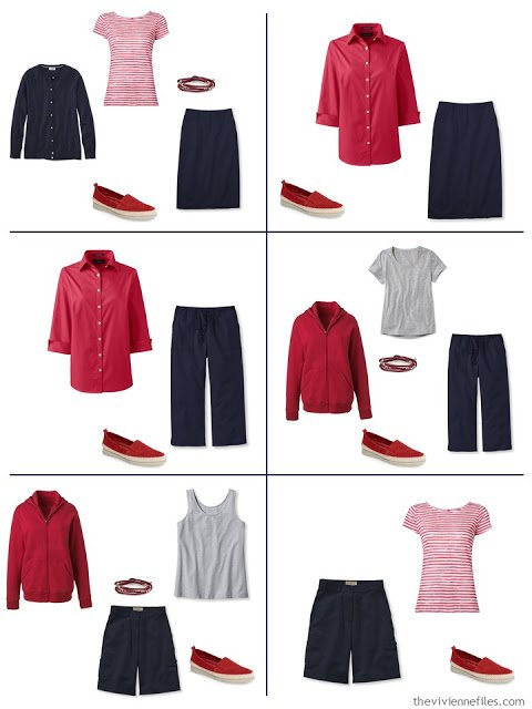 six ways to wear navy and white with a red accent during warmer weather