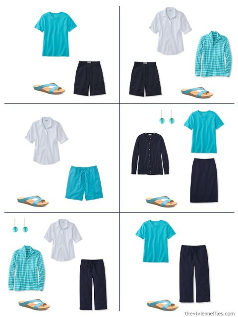 how to wear turquoise, or teal, or azure, with navy and white