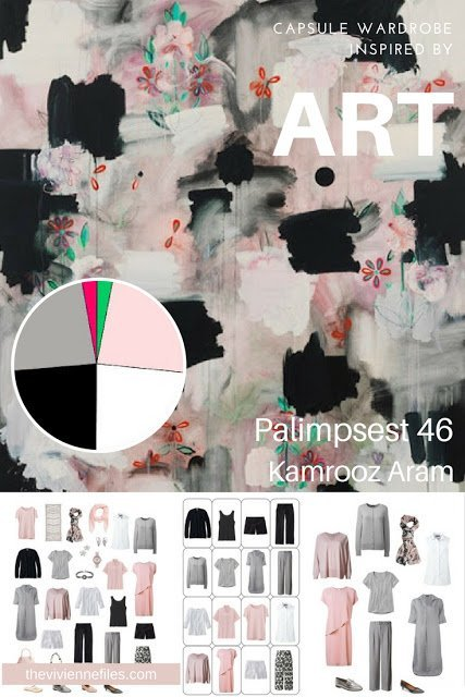 How to Build a Warm Weather Travel Four by Four Wardrobe by Starting with Art: Palimpsest 46 by Kamrooz Aram