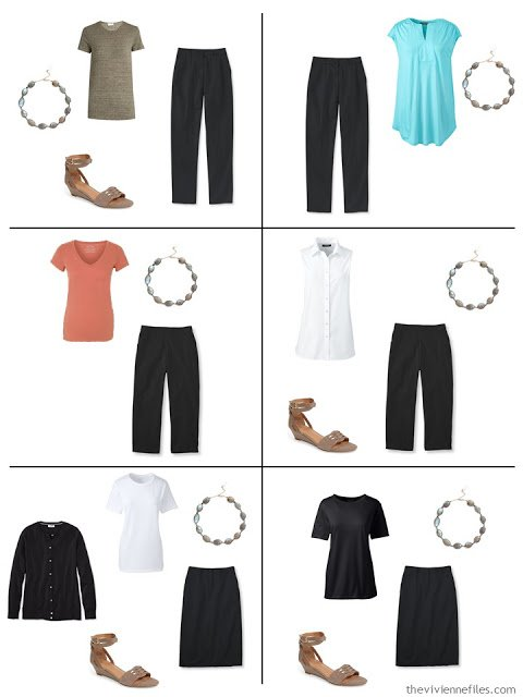 six outfits that mix black and white with warmer tones for warm weather