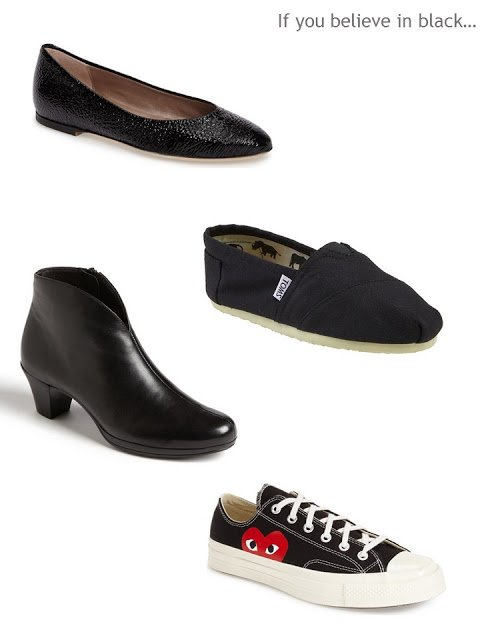 a New York assortment of black shoes