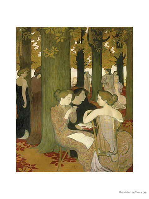 oil painting in La Musee d'Orsay, Dans le Parc (Les Muses) by Maurice Denis