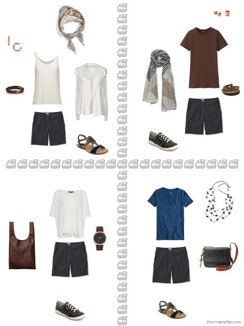 four ways to wear black shorts from a warm weather travel capsule wardrobe