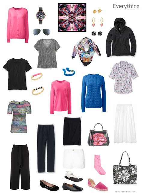 13-piece travel capsule wardrobe in black, white, hot pink and blue with full accessories