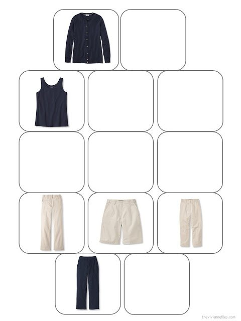 13-piece wardrobe template with six core garments in navy and beige