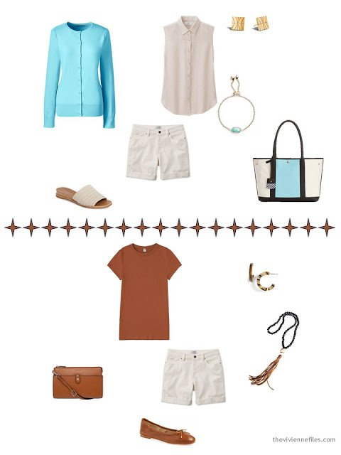 how to style beige denim shorts