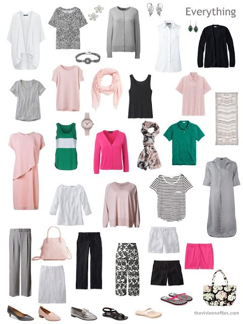 a 24-piece summer capsule wardrobe in black, white, grey, pink and green