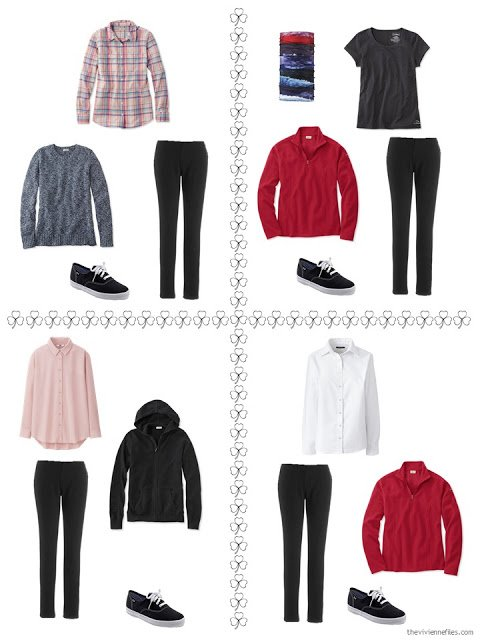 four ways to style black pants from a travel capsule wardrobe