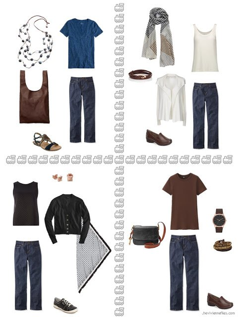 four ways to wear blue jeans from a warm weather travel capsule wardrobe