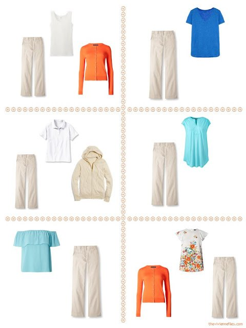 six ways to style tan pants in a summer travel capsule wardrobe