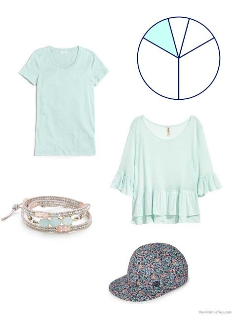 Accent pieces in mint green or aqua - two tops, a bracelet and a baseball cap.