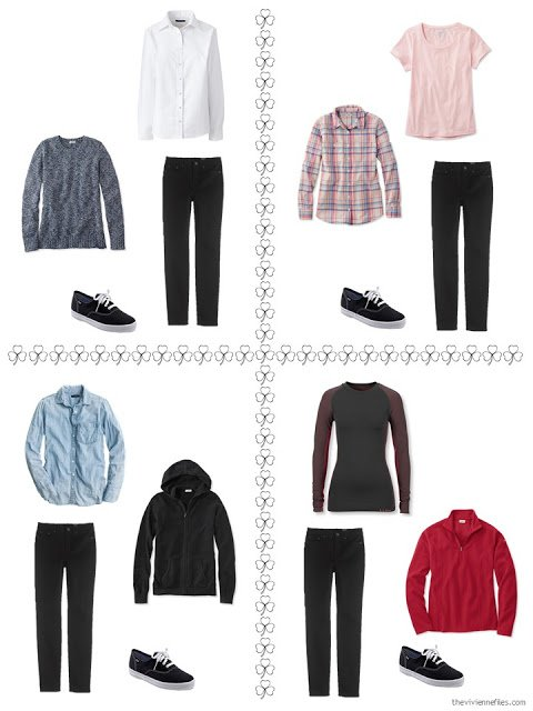 four ways to style black jeans from a travel capsule wardrobe