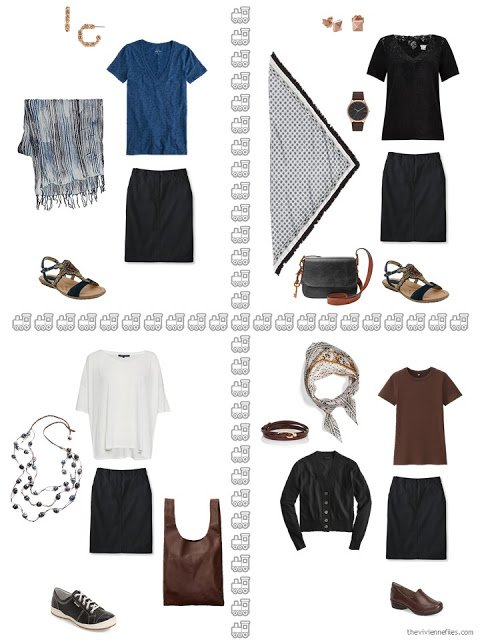 four ways to wear a black skirt from a travel capsule wardrobe