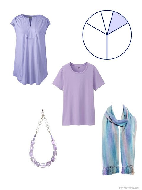 two accent garments in lavender, along with an amethyst necklace and a pastel scarf