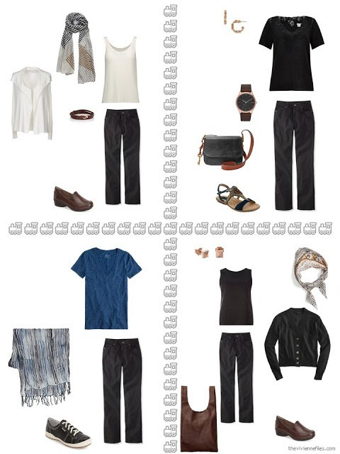 four ways to wear black jeans from a travel capsule wardrobe