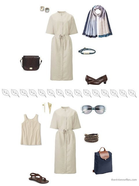 2 ways to style a beige dress for a summer vacation