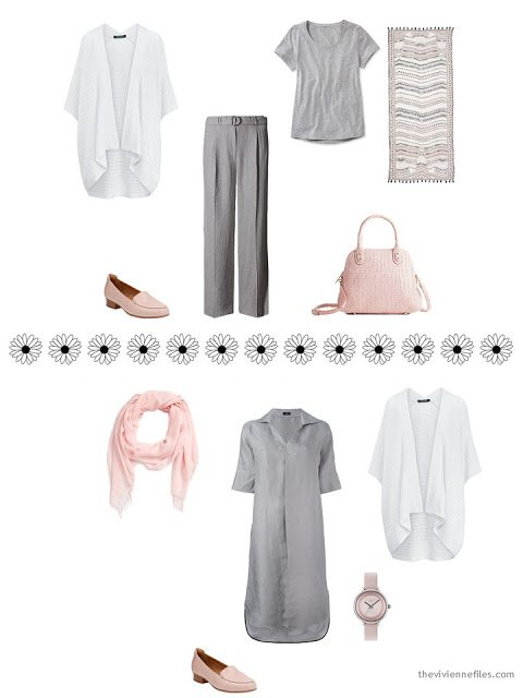 how to style a white cardigan with pink and grey for the summer