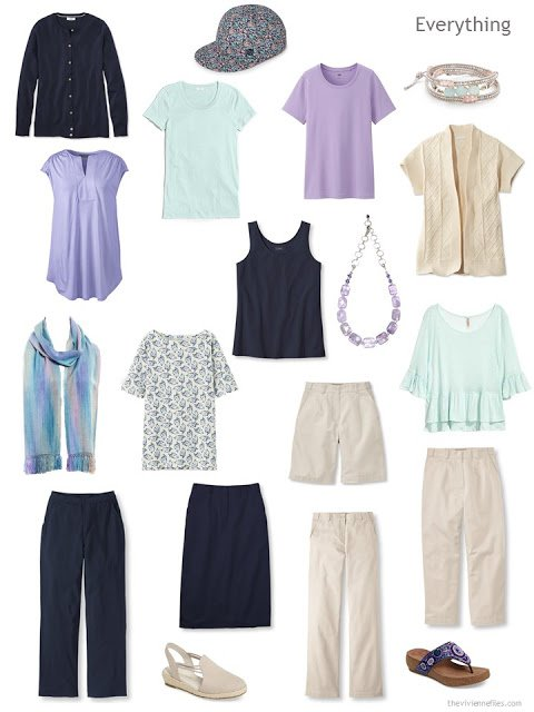 travel capsule wardrobe in navy, beige, mint and lavender for warm weather