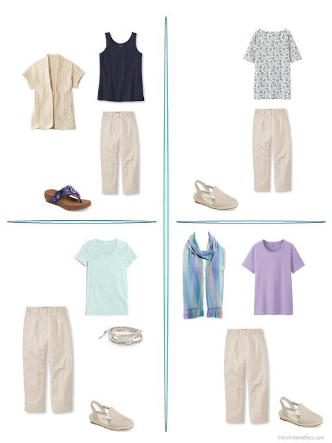 four ways to wear beige cropped pants from a travel capsule wardrobe