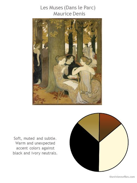 Dans le Parc (Les Muses) by Maurice Denis with style suggestions and color palette